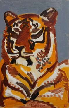 Charles Lapicque (French, 1898-1988) Tiger, 1961 Oil on canvas, 50 x 32 cm