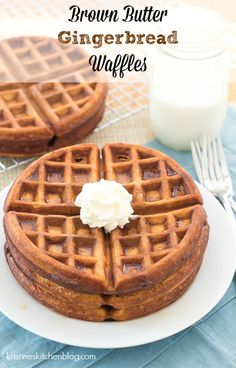 Light and tender inside, crisp on the outside, these Brown Butter Gingerbread Waffles are so good! | Kristine's Kitchen