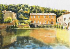 Hot Springs in Bagno Vignoni Tuscany Italy original by MagaFabler, $95.00