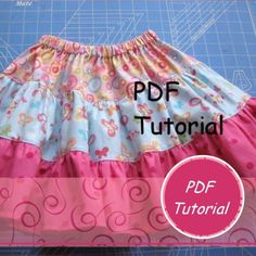 Tiered Twirl Skirt Tutorial - Detailed diagrams and measurements for each size.