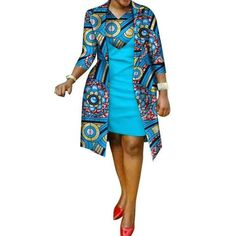 African cotton wax Print Dress and Suit Coat for - African fashion South African Dresses, African Shirt Dress, South African Traditional Dresses, Latest African Fashion Dresses, African Dresses For Women, African Attire, African Dress Patterns, African Print Dress Designs, African Print Dresses