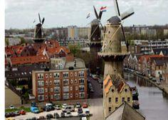 Hoogste molens ter wereld. Schiedam centrum,  Nederland Zuid - Holland