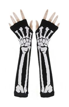 00d6bd838de51 Black Mittens with White Skeleton