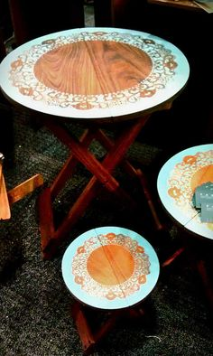 Painted Garden Tables made from Manchiche hardwood. From Fabrica Guatemala