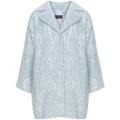 Classic Light-Blue / White Plus Size Cotton and wool blend jacquard coat featuring polyvore women's fashion clothing outerwear coats plus size short white coat cotton coat jacquard coat light blue coat wool-blend coat