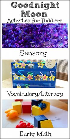 A collection of Goodnight Moon activities for toddlers. Includes sensory, fine motor, pretend play, early literacy, early math, and language activities and also links to resources for learning about the night sky for toddlers and preschoolers.