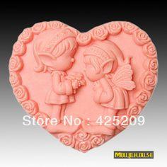 supernova vendita nuovo 2013 boy & girl forma di cuore angelo muffa del sapone , candela stampi , stampo in silicone forma per saponi all'ingrosso