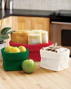 Use this free beginner crochet pattern to create these handy baskets that can be used to store any number of household objects. Find this pattern and 38 other kitchen crafts in our Low-Cost Kitchen Crafts eBook.