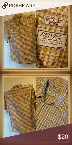 Western Style Slim Fit Snap Front Shirt Western style slim fit plaid short sleeve shirt. Pearlized snaps up front and on pockets. Colors are brown, tan, butterscotch, and cream. 100% cotton. EUC. Rewire Shirts Casual Button Down Shirts