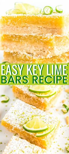 Key Lime Bars are an easy, mouthwatering way to get your citrus fix! Made with a buttery shortbread crust and a soft layer of lime goodness, you& want to make this treat for all your summer get-togethers!Source by mnpackwood Key Lime Desserts, Easy Desserts, Delicious Desserts, Dessert Recipes, Yummy Food, Plated Desserts, Tasty, Lime Squares Recipes, Lime Bar Recipes