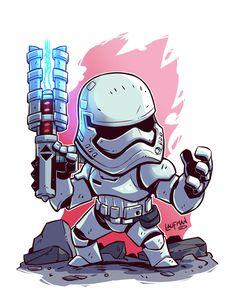 Chibi Star Wars - First Order Storm Trooper Star Wars Fan Art, Star Trek, Star Wars Cartoon, Cartoon Art, Star Wars Tumblr, Star Wars Karikatur, Chibi Marvel, Chibi Superhero, Deadpool Chibi
