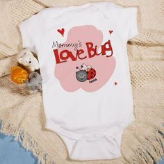 Love Bug Personalized Valentine Infant Baby Creepers. Your little Love Bug is going to look absolutely adorable in this Personalized Valentine's Day Baby Bodysuit. This is a perfect personalized gift from Grandma, Mom or Auntie. Our Personalized Valentine Infant Creeper is available on our premium 5oz, 100% white cotton Personalized Infant Creeper with crew neck, double-needle hemmed sleeves and binding at the legs with three snap bottom. Machine washable in infant sizes NB-18 mos.