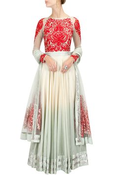 VARUN BAHL Ivory and pale blue embroidered anarkali kurta set Product Code - VBC1M0414172 Price - $ 1,017