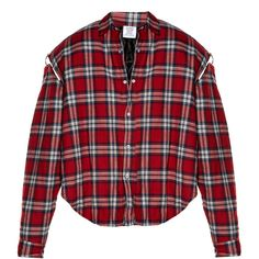Vetements Exaggerated-shoulder checked flannel shirt ($1,365) ❤ liked on Polyvore featuring tops, shirts, vetement, red multi, flare sleeve shirt, red top, checkered flannel shirt, checkered shirt and red checked shirt