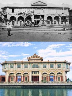 HOTEL DE ORIENTE Location: Las Casas Filipinas de Acuzar, Bagac, Bataan Philippines Wayback 19OO's *The hotel was built in 1889 by Don Manuel Perez Marqueti *It was a First-Class hotel and indeed, at one time was the only one in the entire archipelago *It was originally location site in front of Plaza Calderon de la Barca (present name Plaza Lorenzo Ruiz) around Binondo Manila *Architect Juan Huervas y Arizemendi was design the hotel *the hotel facade transferred in Bataan in October 2013 Filipino Architecture, Philippine Architecture, Philippines Culture, Manila Philippines, Bataan, First Class Hotel, Then And Now Pictures, Spanish Colonial Homes, Philippine Holidays