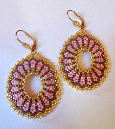 Tutorial orecchini Variante Girandole Ovali - Tecnica peyote circolare Rocailles e Delica Miyuki nei colori oro e fantasia #beadwork #earrings tutorial #earrings hoop #hoop #beaded #tutorial