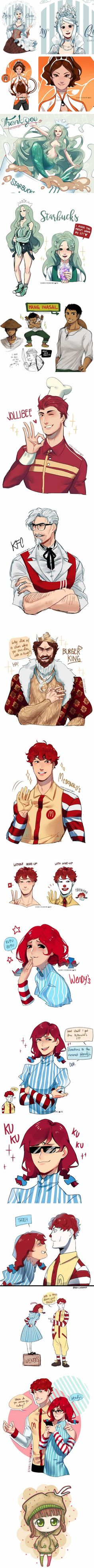 Artist Turns Fast Food Restaurant Chains Into Anime Characters -- why does KFC look like Markiplier