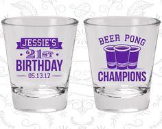 21st Birthday Shot Glasses, Cheap Birthday Shot Glasses, Beer Pong Birthday, Finally Legal, Birthday Shot Glasses (20186)