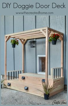 Plans to build a perfectly overdone doggie door deck (or pooch porch) for your spoiled companion that comes complete with a cover and solar lighting! Diy Doggie Door, Pet Door, Doggy Doors, Door Decks, Puppy Room, Dog Spaces, Dog Yard, Dog Rooms, Outdoor Dog