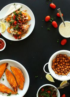 Mediterranean Baked Sweet Potatoes | A healthy 30 minute meal that's flavorful and filling #vegan #glutenfree