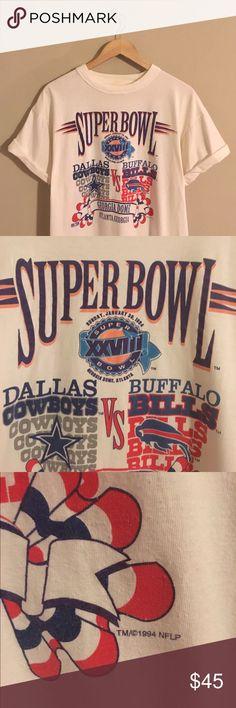 Vintage 1994 Cowboys Vs Bills Super Bowl T-shirt Awesome rare vintage 90s NFL Dallas Cowboys vs Buffalo Bills authentic NFL football shirt. The tag has been removed but fits like Men's Medium Vintage Tops Tees - Short Sleeve