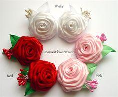 Rosas hechas a mano Kanzashi chicas mujeres por MARIASFLOWERPOWER