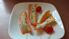 Crunchy Breakfast.  Hummus and Cottage Cheese on mini Peppers.   #foodie #vegetarian #healthy #glutenfree #breakfast #nutrional