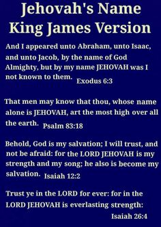 Where to find Jehovah's name in the King James Version of the Bible.