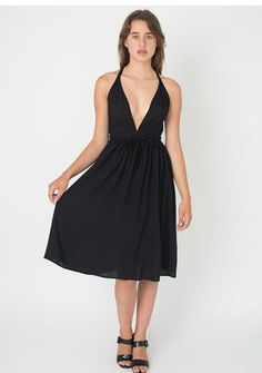 2015 women American apparel V-neck low high waist racerback Empire Waist Cross Back Dress
