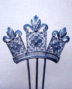 Late Victorian Hair Comb Silver Tone Metal Filigree Hair Accessory from spanishcomb on Ruby Lane