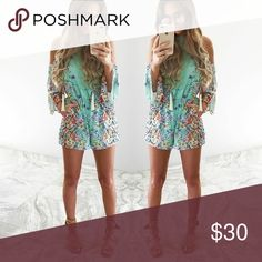 ShopHopes Multicolored Romper Brand new with tags Size large shophopes Dresses Midi