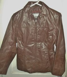 vintage Wilson's Maxima ladies leather jacket brown size small front straightzip #WilsonsLeather #BasicJacket