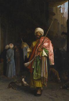 Jean-Léon Gérôme 1824 - 1904 FRENCH MARCHAND AMBULANT AU CAIRE signed J. L. GEROME (center left) oil on canvas 31 1/8 by 21 1/2 in. 79 by 54.6 cm