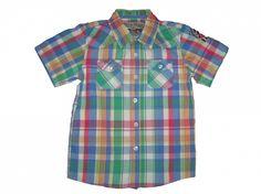 Maat 116/122 Blouse met korte mouw Geel/groen/blauw/roze/wit geruit  Merk Akmo