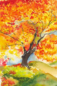 Golden Autumn by Lavenderwitch on DeviantArt Autumn Painting, Autumn Art, Devin Art, Fall Clip Art, Fall Art Projects, Crayon Art, Art Lessons Elementary, Easy Paintings, Autumn