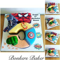 Superhero/Avengers Number 5 Cake Marvel Birthday Cake, 5th Birthday Cake, 5th Birthday Party Ideas, Happy 5th Birthday, Birthday Themes For Boys, Avengers Birthday, Superhero Birthday Party, Pastel Marvel, Cake Designs For Boy