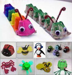DIY kids crafts egg carton bugs to make Daycare Crafts, Preschool Crafts, Easter Crafts, Fun Crafts, Recycled Crafts Kids, Spring Craft Preschool, Easy Kids Crafts, Arts And Crafts For Kids Toddlers, At Home Crafts For Kids