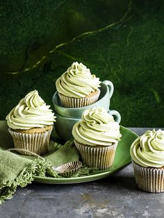 Matcha cupcakes: Matcha cupcakes are a trending flavour at the moment, matcha is ground green tea and we've also seen it being used in doughnuts, snow cones and green tea ice cream. Try our easy recipe with a white chocolate melting middle.