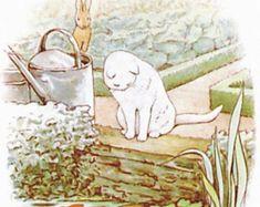 """Lovely Beatrix Potter Peter Rabbit White Cat Fishing design large 20cm/ 8"""" ceramic tile for kitchen bathroom living room walls splash backs"""