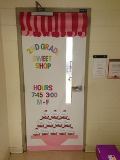 Cupcake themed classroom door