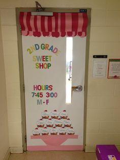 Cupcake themed classroom door