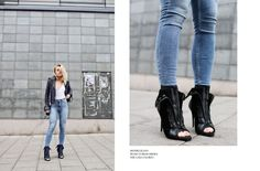 awesome Angelica Blick looks great in the classic rocker girl style leather jacket and j...