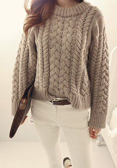 Coffee Plain Long Sleeve Casual Wool Pullover Sweater