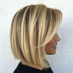 """#14: Balayage and Babylights for Thin Hair There is a way to lighten up a medium bob as shown here. The stylist kept a """"shadow root"""" to create depth and make th"""