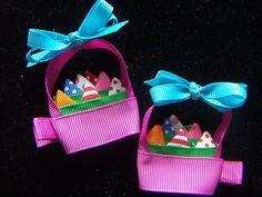 Easter Basket Hair Bows   New 2 Pcs Baby Toddler Girl Easter Basket Hair Clips Bow Bin   eBay