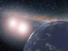 Artist's concept shows a hypothetical planet covered in water around the binary star system