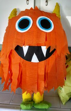 Monster Theme Birthday Party Pinata It can come in different colors: Red, Blue,Green I handmade this Monster Pinata You can purchase it on etsy link below :)