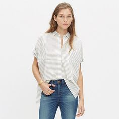 Madewell+-+Grid-Mix+Short-Sleeve+Shirt