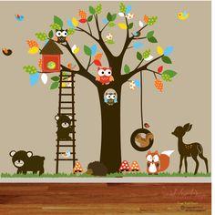 Vinyl Wall decal stickers swing tree set with,owls,birds,deer,bear,fox.woodland animals nursery wall decal. $225.00, via Etsy.