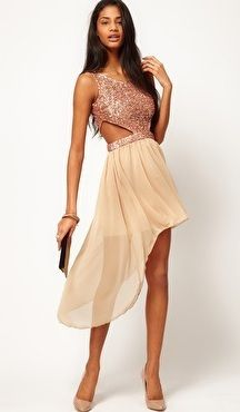 WOMENS+RARE+TOPSHOP+ROSE+GOLD+SEQUIN+CUT+OUT+DRESS+HILO+CREAM+SKIRT+ASOS+SIZE+8